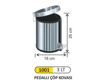 Pedallı Metal Çöp Kovası 3 Lt