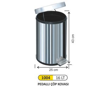 Pedallı Metal Çöp Kovası 16 Lt