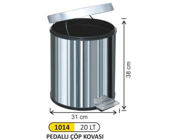 Pedallı Metal Çöp Kovası 20 Lt