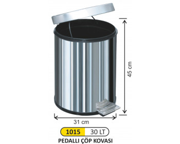 Pedallı Metal Çöp Kovası 30 Lt