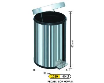 Pedallı Metal Çöp Kovası 40 Lt