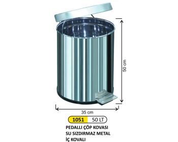 Pedallı Metal Çöp Kovası 50 Lt