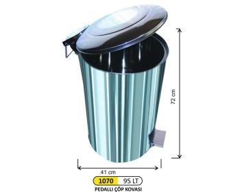 Pedallı Metal Çöp Kovası 95 Lt