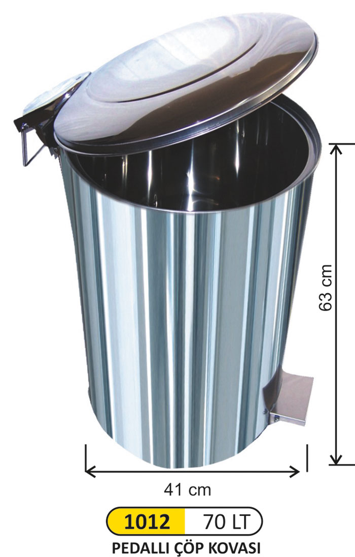 Pedallı Metal Çöp Kovası 70 Lt